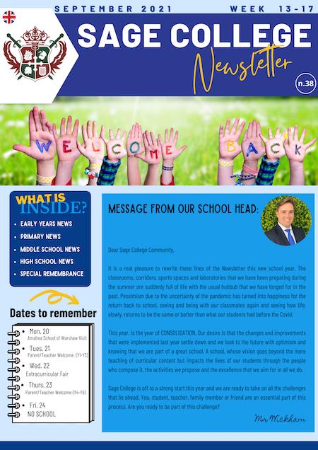 School Newsletter 18-09-2021